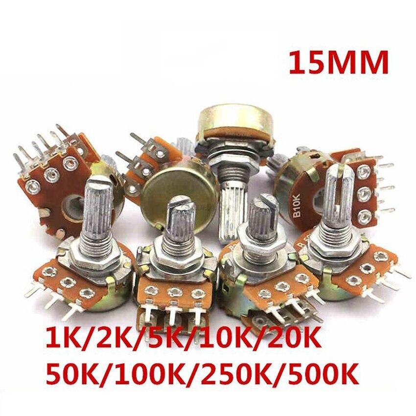 2pcs WH148 B1K B2K B5K B10K B20K B50K B100K B500K 6Pin Shaft  Amplifier Dual Stereo Potentiometer 1K 2K 5K 10K 50K 100K 500K