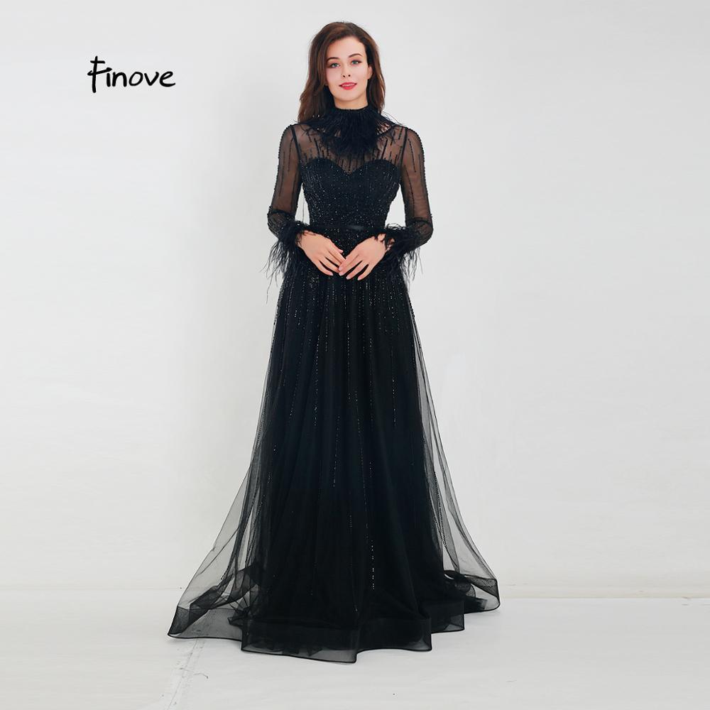Image 4 - Finove Gorgeous Black Evening Dress 2020 A Line Gowns Full Sleeves Feathers Neck Line Long Floor Length Elegant Formal DressesEvening Dresses   -