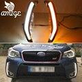 DNO Auto LED Tagfahrlicht Für Subaru Forester 2013 2014 2015 - 2018 12V Auto DRL Gelb Drehen signal Daylights Nebelscheinwerfer