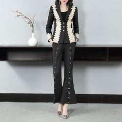 Vogue of new fund of 2019 autumn/winter bud silk damask vents of cultivate ones morality suit bell-bottomed pants suit