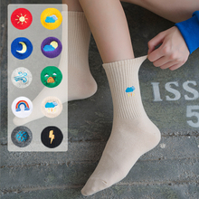 1 Pair Unisex Rainbow Color Women Socks Harajuku Kawaii Weather Forecast Funny Standard Length