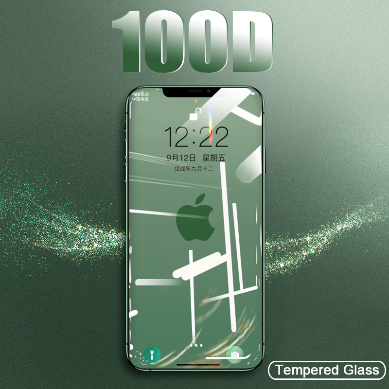 100D Protective Tempered Glass On The For IPhone 7 8 6 6s Plus X Glass Screen Protector Soft Edge Curved For IPhone XR Xs MAX X