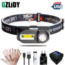 LED Headlamp Powerful Camping-Torch Cob-Headlight Usb Rechargeable Waterproof Portable