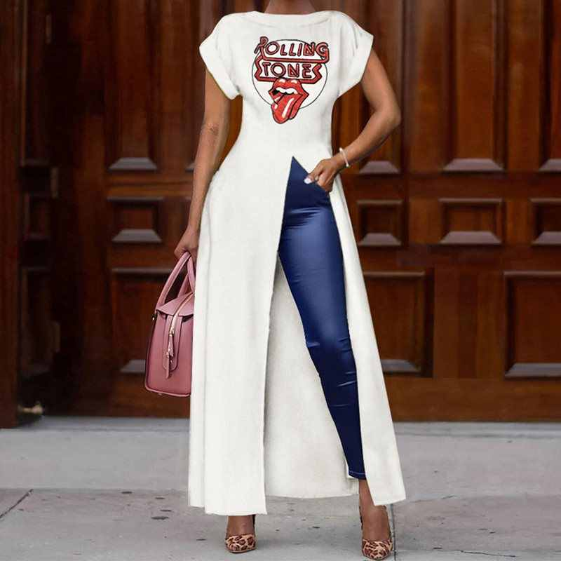 Summer Short Sleeve Round Neck High Split Women Long T Shirt Big Plus Size 3XL Red Lips Printed Rock Ladies Streetwear Top White