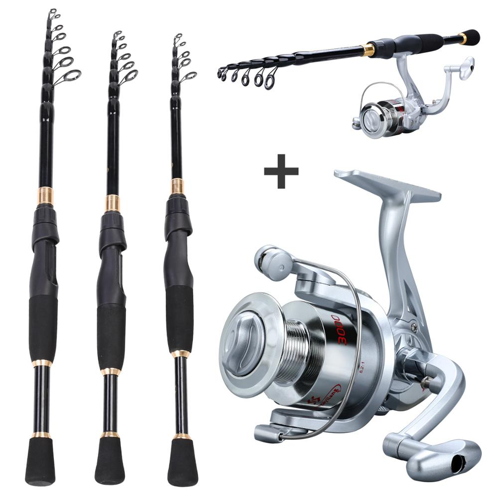 Sougayilang 1.8-2.4m Telescopic Fishing Rod Set Ultralight Weight Rod Fishing Reels  Saltwater Freshwater Spinning Reel Tackle
