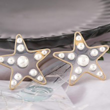 Fashion Pearl Star Stud Earrings Korean Sweet Design Transparent Resin Metal  witchcraft Earrings for Women Christmas Jewelry цена 2017