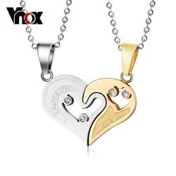 Vnox 2pcs/lots Love Heart Couples Necklace Pendant Stainless Steel Bestfriend Jewelry for Men Women free Chain