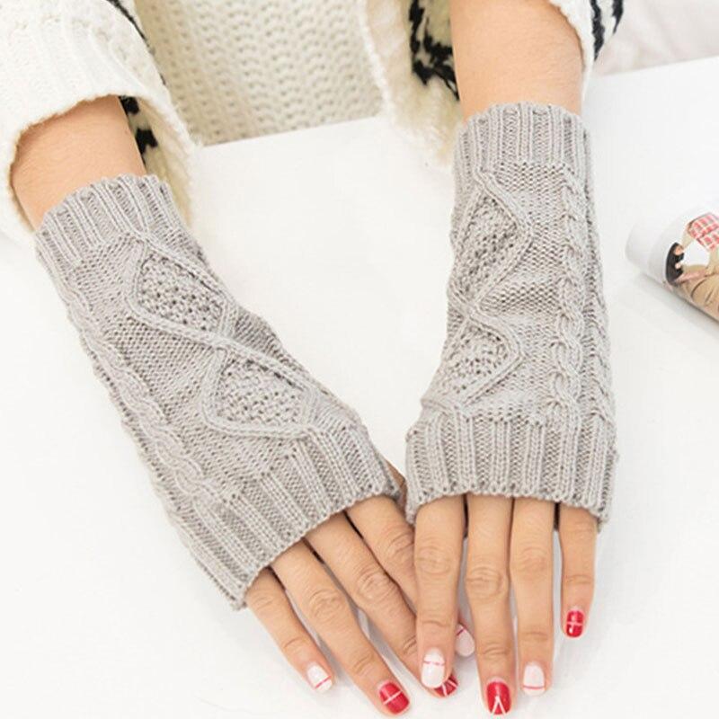 Solid Winter Gloves Women Knitted Fingerless Ladies Gloves Arm Warmer Mittens Glove Winter Warm Wrist Wool Red Black Gray Gloves