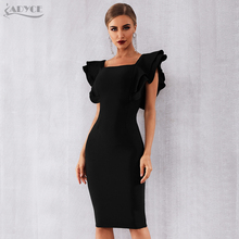 Adyce 2020 Quần Áo Thun Đen Ôm Body Băng Đô Đầm Lưới Hoa Đầm Vestido Gợi Cảm Xù Bướm Tay Câu Lạc Bộ Nổi Tiếng Đường Băng Đầm Dự Tiệc