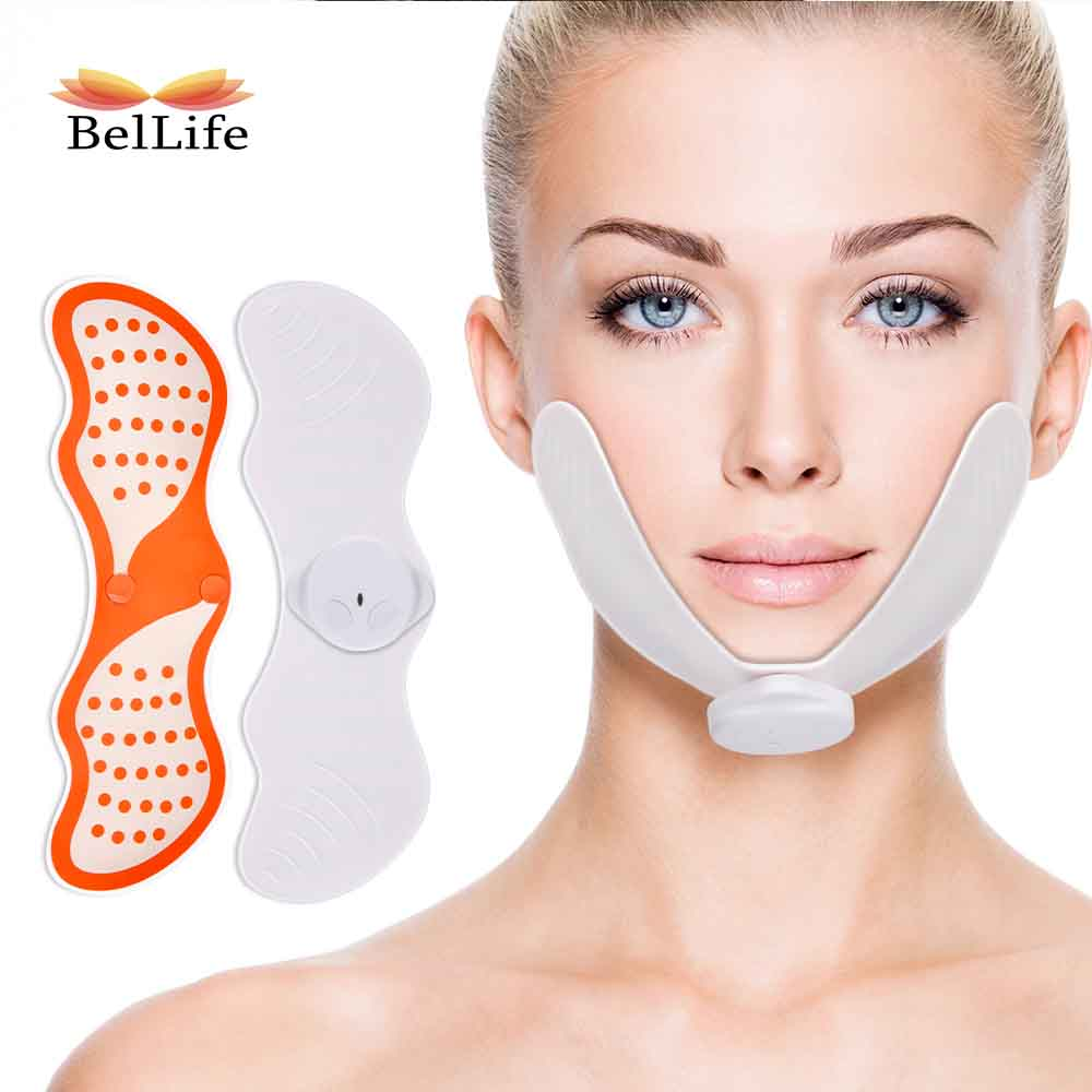 EMS Micro Current Face Vibration Massager Wireless V Face Slimming Stimulator Firming Skin Reduce Double Chin Beauty Pad Shaper