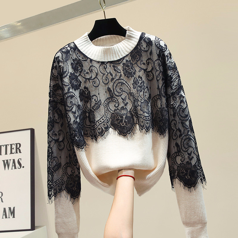 Lace Patchwork Sweater Women O-neck Knitted Pullover Long Sleeve Sweaters Loose Tops 2020 Spring New Arrival