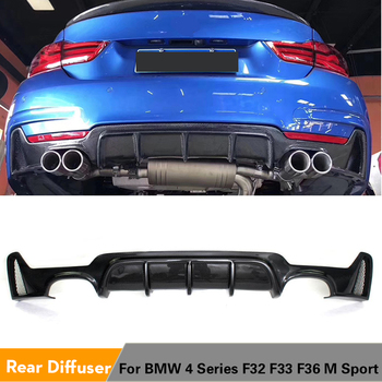 Carbon Fiber / FRP Rear Bumper Lip Spoiler For BMW 4 Series F32 F33 F36 M Sport Only 2014 - 2017 435i 420i Rear Diffuser Spoiler image
