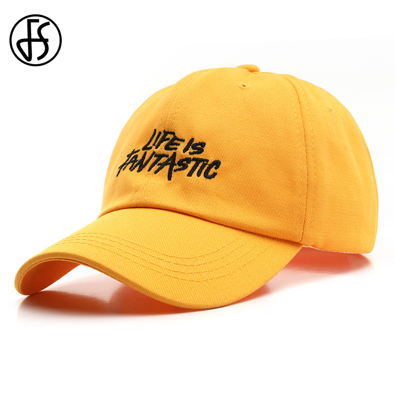 FS Trend Yellow Beige Street Wear Full Caps Snapback Baseball Hat For Men Women Letter Embroidery Hip Hop Cap Casquette Homme