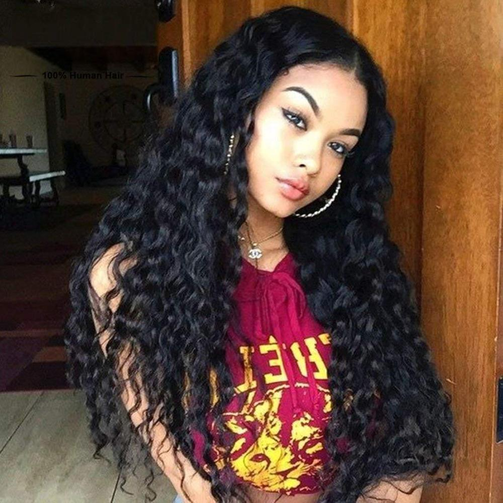 Long Black Wig Loose Curly Black Lace Front Wig Synthetic Full Wigs For Women Pre Plucked With Natural Hairline And Baby Hair
