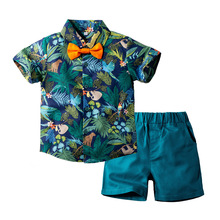 Baby Kleiden Infant Kinder Jungen Sommer Sets Gedruckt Shirt + Grün Shorts 2 Stück kurzhülse 2 3 5 Y Kinder Anzüge Kostüm
