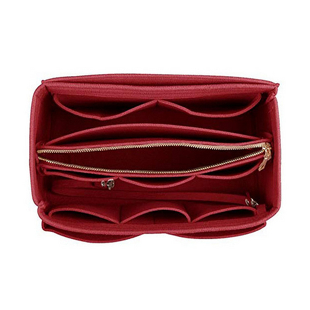 Zipper With Detachable Pocket Felt Insert Bag Tote Organizer Storage Travel Portable Shaper For Handbag Make Up Key Chain Pouch