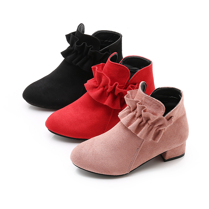 2019 New Fashion High Heel Children Shoes For Girls Flower Autumn Leather Boots Ankle Kids Boots 4 5 6 7 8 9 10 11 12 Year Old