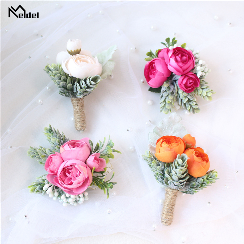 Meldel Rose Bud Wrist Corsage Hand Flower Man Boutonniere Artificial Tea Rose Silk Wrist Bracelet Bridesmaid Wedding Prom Brooch