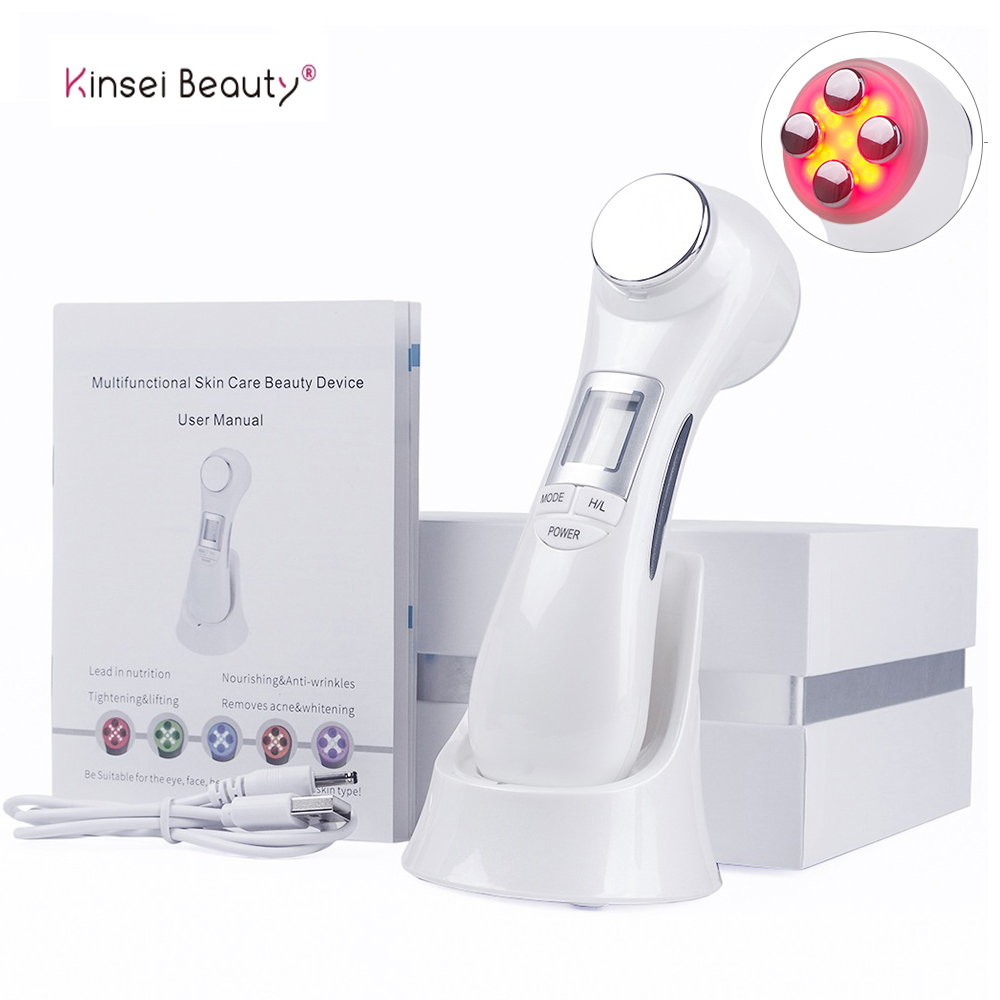 Microcurrent massageador facial para rosto massageador face lift led rf fóton terapia massagem facial máquina de levantamento de cara