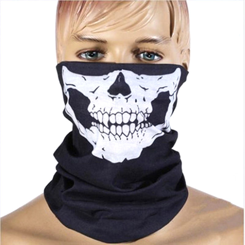 Skeleton Skull Bandana Ski Skull Halloween Neck Half Face Mask Cycling Ghost Scarf Neck Bandanas Ski Sport Hiking Scarves