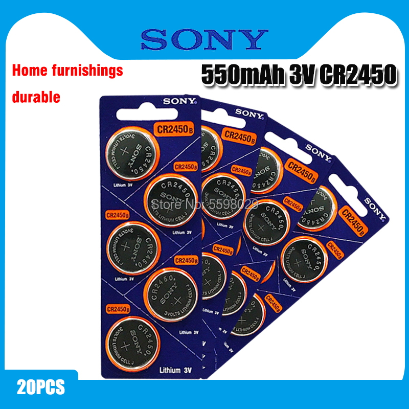 20pcs Original Sony CR2450 Button <font><b>Battery</b></font> 5029LC BR2450 BR2450-1W <font><b>CR2450N</b></font> ECR2450 DL2450 KCR2450 LM2450 For Watch Toy Remote image