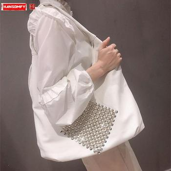 New diamonds women's handbag Large capacity leather ladies shoulder bag luxury fashion female rhinestone big tote bags