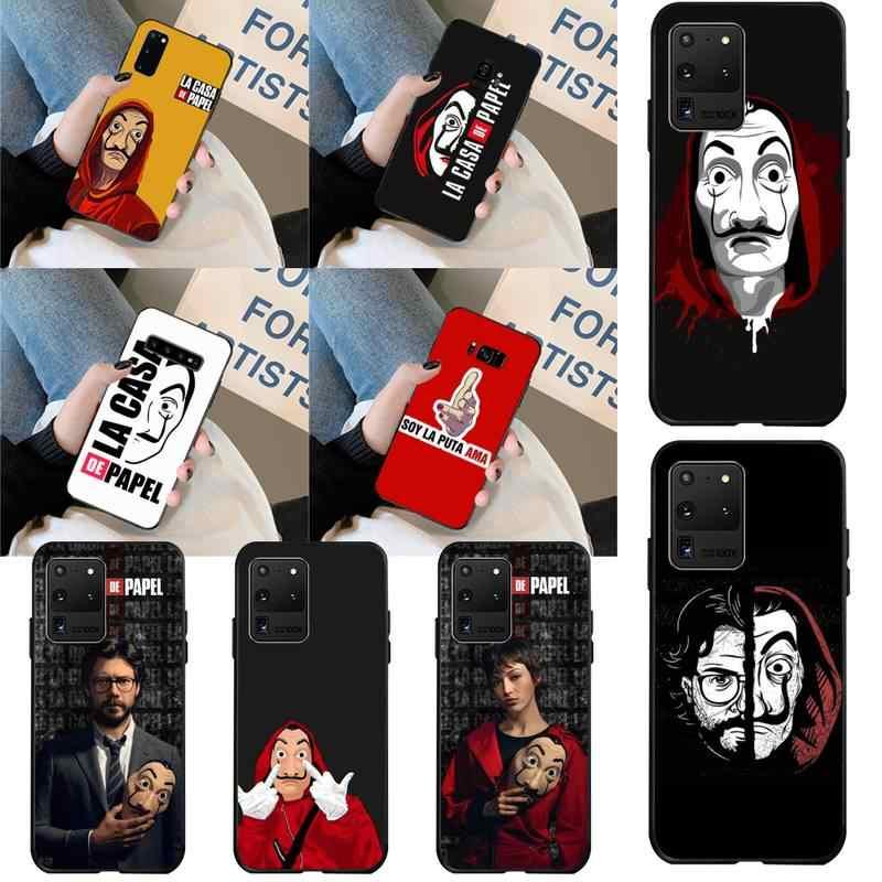 اسبانيا TV المال سرقة البيت ورقة لا كاسا دي بابيل الأسود غطاء هاتف من البولي يوريثان لسامسونج S20 زائد الترا S6 S7 حافة S8 S9 زائد S10 5G