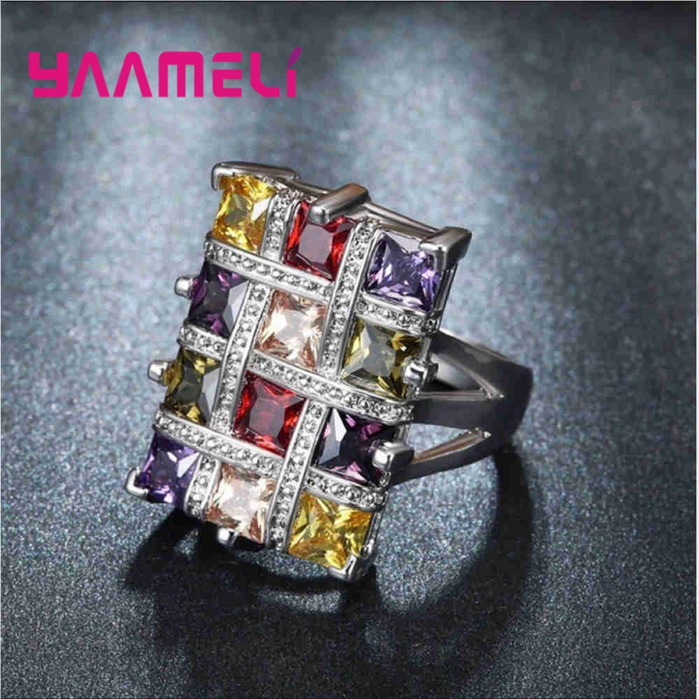 Style Party Ring 925 Sterling Silver Colorful Crystal Square Charm Lady Finger Ornaments Wholesale Christmas Gifts Drop Shipping Rings    - AliExpress