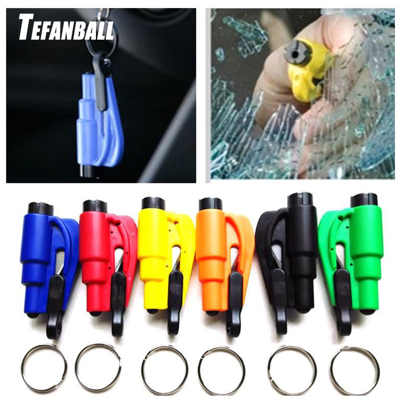 1Pc Mini Safety Hammer Pocket Car Life-saving Emergency Glass Window Breaking Escape Rescue Tool With Key Chain Seat Belt Cutter