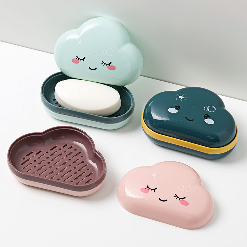 Cute Cartoon Clouds Shape Soap Box Bathroom Drain Soap Holder Portable Travel Soap Protect Case Bathroom Accessories