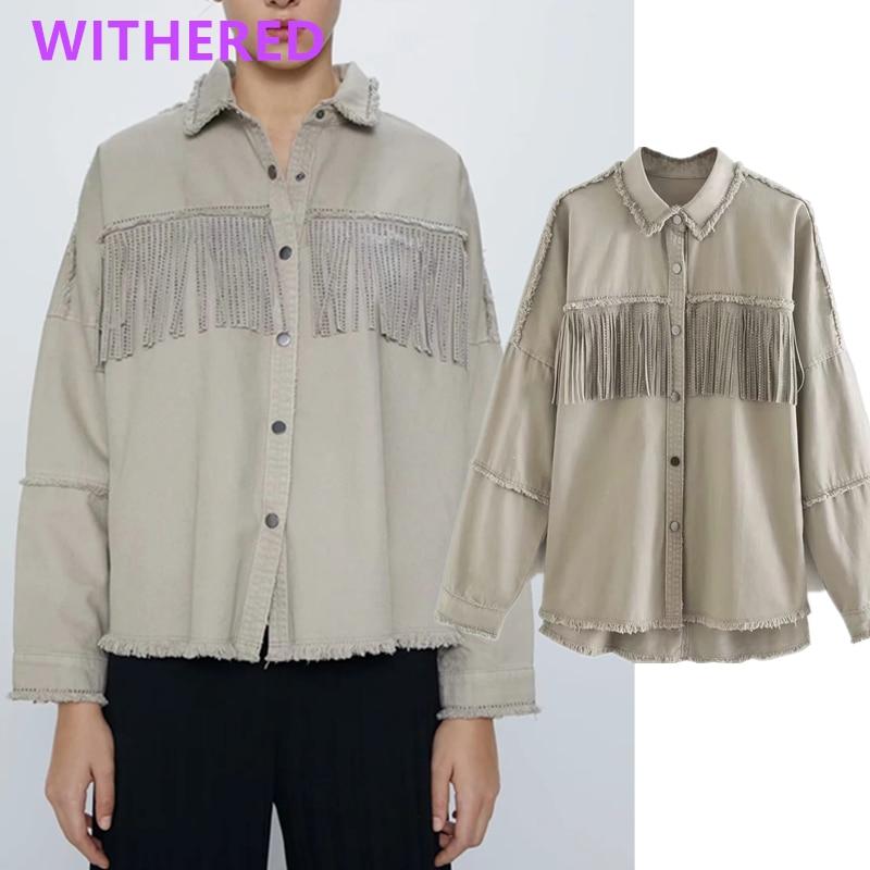 Withered england high street vintage tassels pockets oversize cargo denim jacket women casaco feminino jaqueta feminina coats