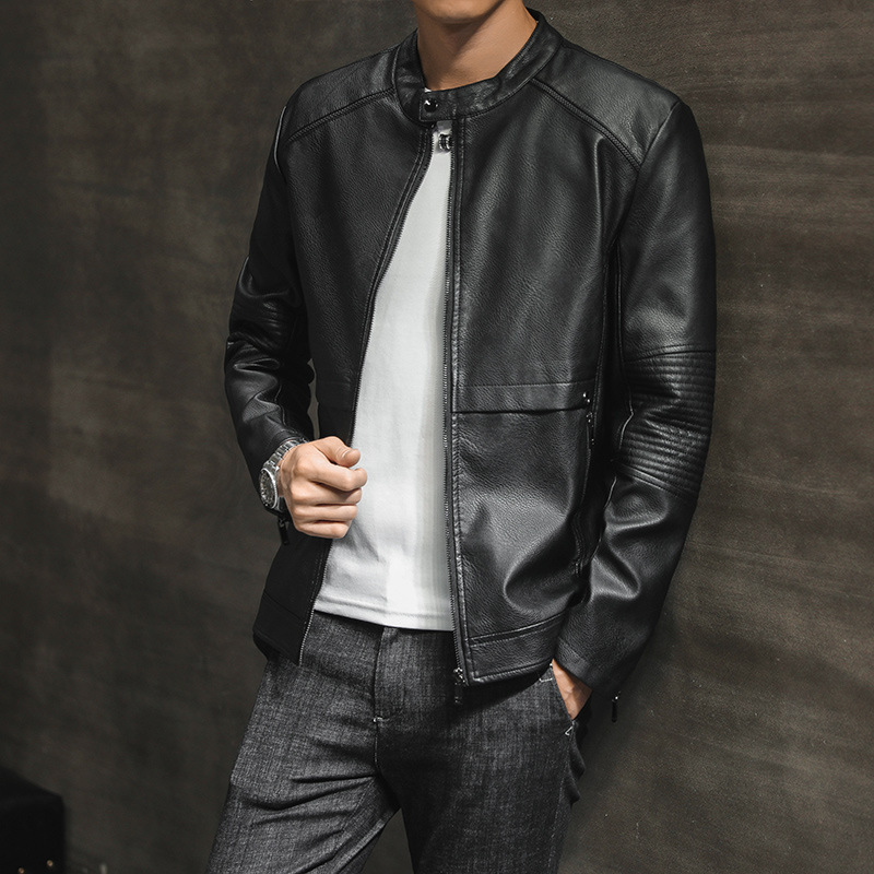 New Style MEN'S Leather Coat Autumn & Winter Korean-style Trend Slim Fit PU Leather Jacket Youth Handsome Men's Trend Casual Coa