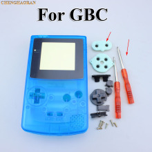 ChengHaoRan 1set Clear Blue Full Housing Shell case cover for GBC Gameboy Color with Conductive Rubber Screwdrivers