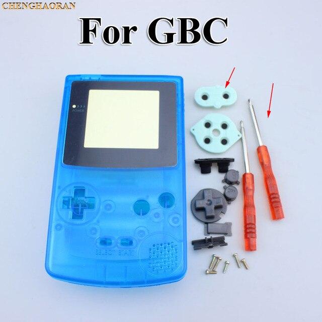 ChengHaoRan 1set Klar Blue Full Housing Shell fall abdeckung für GBC Gameboy Farbe mit Leitfähigen Gummi Schraubendreher