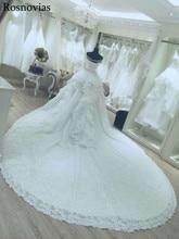 Luxury Wedding Dresses 2020 Ball Gown Off Shoulder Lace up Back Chapel Train Appliques Sequins Bride Gowns Свадебное Платье