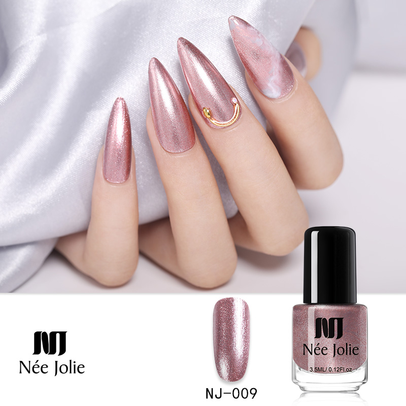 NEE JOLIE 73 Colors Nude Glitter Sequins Semi Permanent Pearly Shell Nail Art Polish Varnish  DIY Design 3.5ml