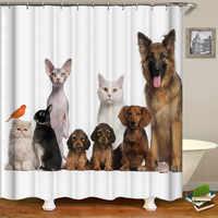 Patrón de dibujos animados perro lindo Cortina de ducha suministros de baño Cortina de ducha de tela impermeable con gancho para la decoración del hogar