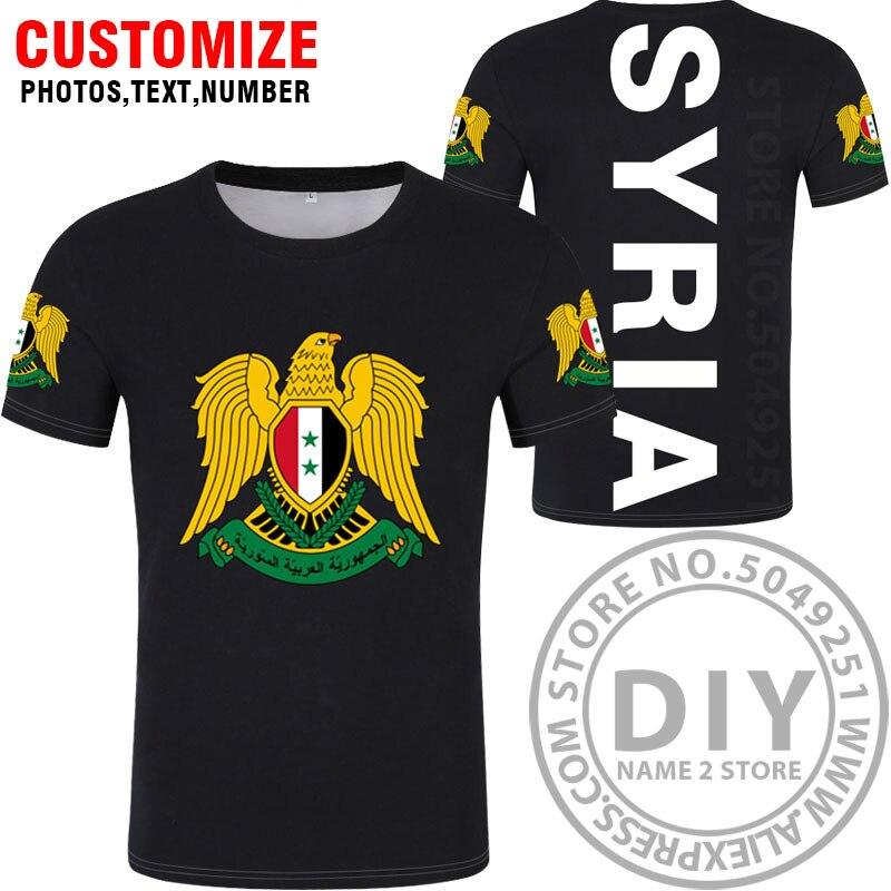 Сирийская Арабская футболка собственными руками Сделай Сам Бесплатная пользовательские фотографии имени производителем номер Сирии syr футболка Национальный флаг ислама sy арабский страна колледж «Жемчуг дракона» Одежда