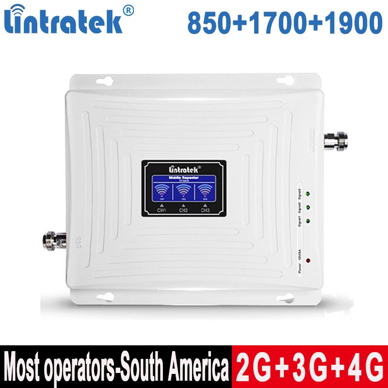 Lintratek 850 2G 1900 Triband Signal Booster 3G 4G 1700/2100 Repeater CDMA 850 1900 4G 1700 LTE Band 5+Band 2+ Band 4 Amplifier