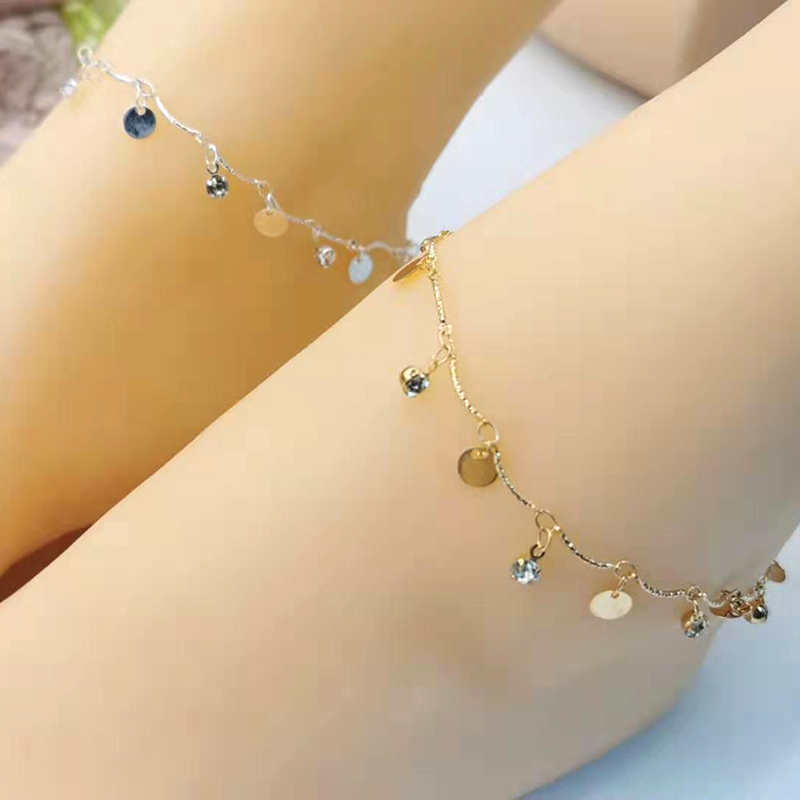 European and American personality popular round white crystal pendant anklet AliExpress ebay hot sale ladies jewelry wholesale in Anklets from Jewelry Accessories