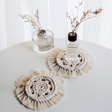 Nordic Macrame Cup Pad Placemat Cotton Braid Coster Bohemia Tablecloth Table Mats For For Kitchen Dining Table Home Decoration(China)