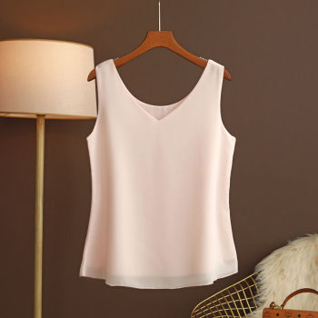 2021 New Summer Women Blouse Loose V-Neck Chiffon Shirt Female Sleeveless Blouse Oversize Shirts women tops and blouses Top 1