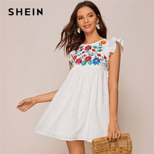 SHEIN White Ruffle Armhole Embroidery Floral Smock Dress Women Summer High Waist