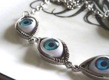 New Fashion Halloween Blue Human Eyes Ball Necklace Alien Eye I Want To Believe 2000s Aesthetics Jewelry For Women Gifts