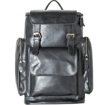 цена Retro Genuine Leather Men's Backpack Large Capacity laptop bag school backpack male shoulder bags Brown leather Travel Backpacks онлайн в 2017 году
