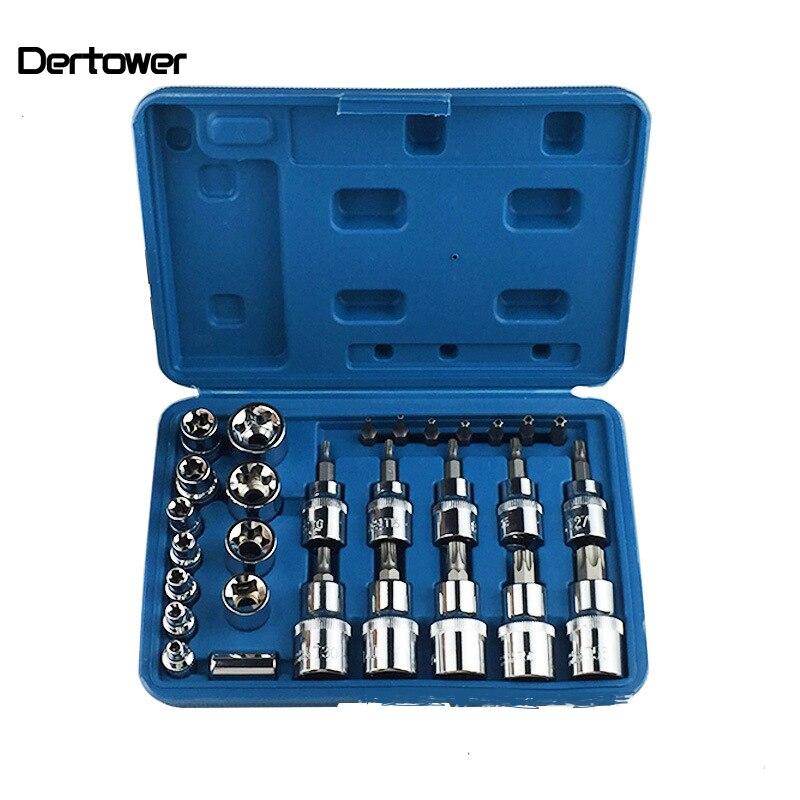 """29PCS Hex Torx Socket Bit Set 1//4/"""" 3//8/"""" 1//2/"""" Male /&  Female Torx Sockets Head"""