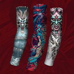 3D Tattoo Ice Fabric Running Arm Sleeves UV UPF50+ Protection Breathable Sport Cycling Fitness Men Women Arm Warmers Sleeve