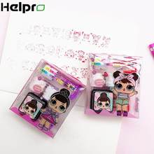 Helpro 1set Surprise Doll Inkpad Stamp Children Cartoon Decoration Supplies Wheel Stamp Diy Diary Greeting Card Drawing Making(China)