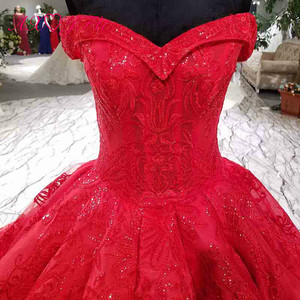 Image 5 - Vestido de boda AXJFU de lujo de princesa con cuentas de cristal y flores de encaje rojo, vestido de novia vintage con cuello de barco brillante con volantes 3392