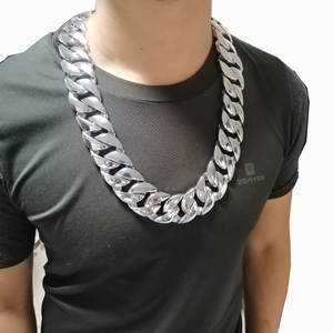 Image 2 - 31MM Wide Shiny Cuba Big Necklace Men Hip Hop Stainless Steel Jewelry Hand polished Casting Bracelet Hiphop Tide Jewelry